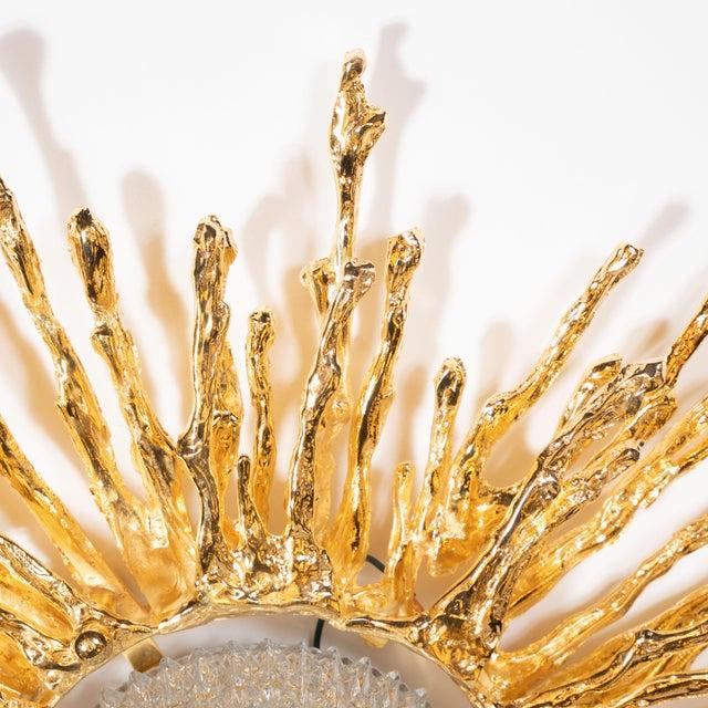 Gold Vintage Claude Boeltz Exploded Bronze and 24-Karat Gold Sunburst Flush Mount Chandelier For Sale - Image 8 of 12