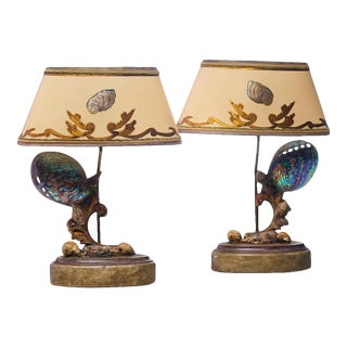 21st C. Hand Made Sea Shell Lamps - a Pair For Sale