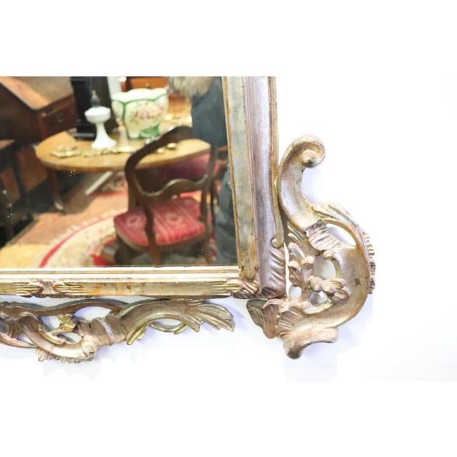 Wood 20th Century Italian Louis XV Style Silvered Wood Antique Wall Mirror For Sale - Image 7 of 13