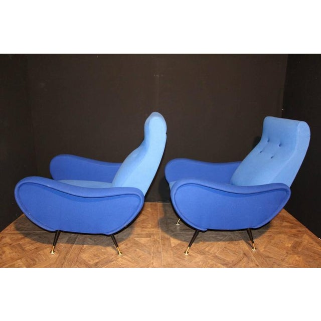 Italian Pair of Blue Mid-Century Chairs in the Style of Zanuso For Sale - Image 6 of 8