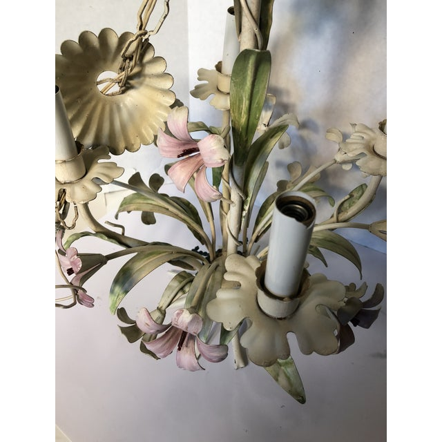 1960s Italian Tole Floral Chandelier For Sale - Image 6 of 9