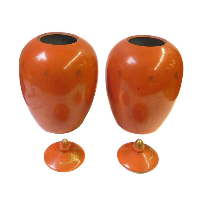 Chinese Orange Cranes Porcelain Oval Jars - Pair - Image 3 of 5