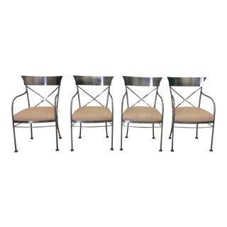 1980s Mid-Century Modern Dia Design Institude of America Chrome and Brass Armchairs - Set of 4