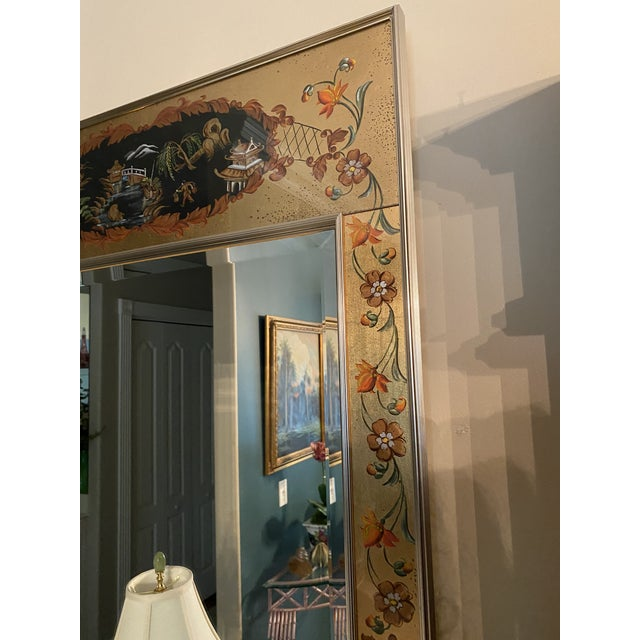 Chinoiserie Vintage Labarge Eglomise Chinoiserie Mirror For Sale - Image 3 of 10