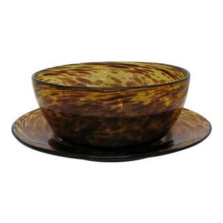 Murano Tortoise Glass Large Bowl & Platter For Sale