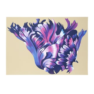 """Lowell Nesbitt, """"Black Parrot Tulip"""", Photorealist Flower Screenprint For Sale"""