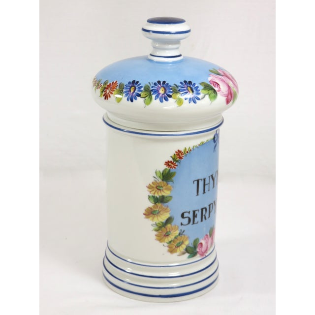Antique Paris Porcelain Druggist Apothecary Jar. Classic Victorian hand decorated features. Front reads in Latin THYMUS...