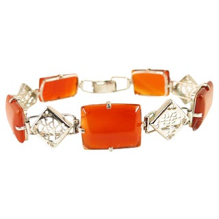 Chinese Carnelian & Sterling Bracelet, 1950s For Sale