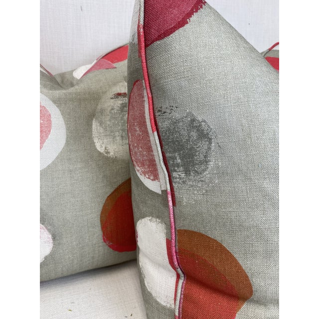"""Custom pair of 22"""" pillows covered in Jane Churchill """"Olinda"""" in red hand printed linen. These pillows are self welted,..."""
