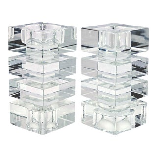 Tall Crystal Op Art Candle Holders - Pair For Sale