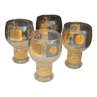 Mid-Century 1960's 22 Karat Gold Overlay Coin Federated Beer Glasses - Set of 4