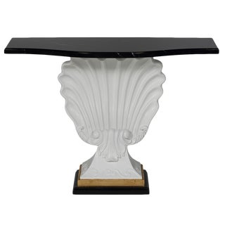Black & White Shell Console Table For Sale