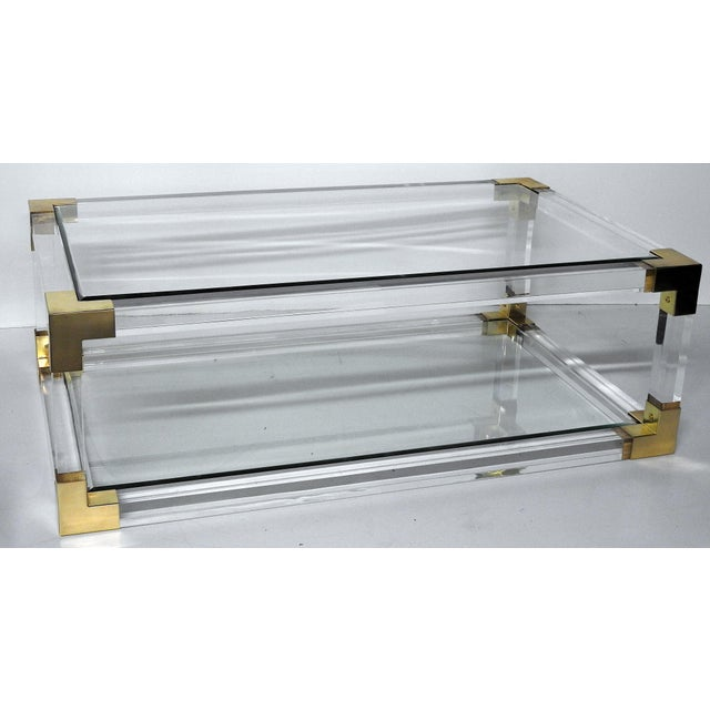 Brass Charles Hollis Jones Attributed Lucite Coffee Table For Sale - Image 7 of 7