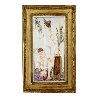 Large Antique Capodimonte Porcelain Plaque of a Naiad or Water Nymph For Sale
