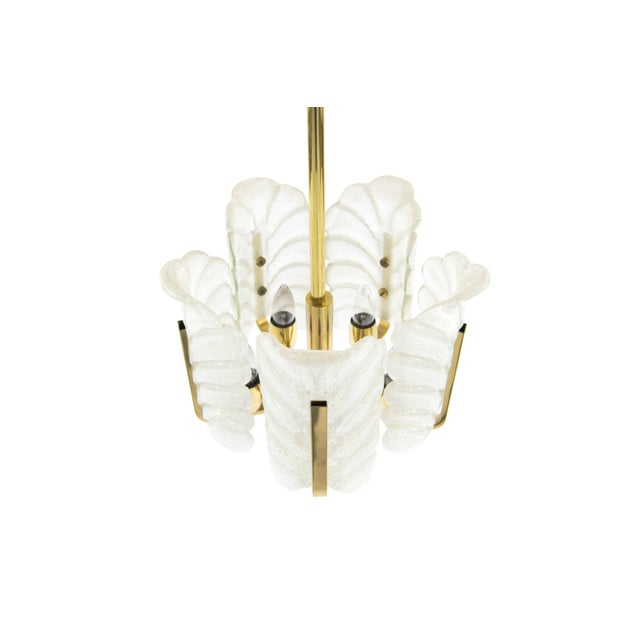 Mid 20th Century Murano Glass Brass Chandelier by Carl Fagerlund for Orrefors, Sweden, 1960s For Sale - Image 5 of 10