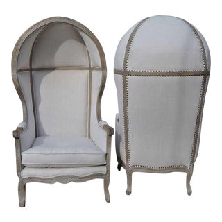 Pair of French White Linen Canopy Hood Bishops Chairs