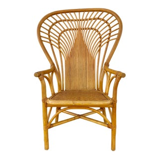 1960s Vintage Regency Style Vintage Rattan Bamboo Fan Back Arm Chair For Sale
