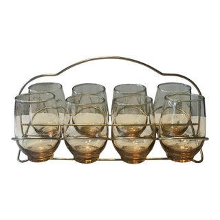1960s Mid-Century Modern Amber Cocktail Glasses and Brass Caddy - Set of 9 For Sale