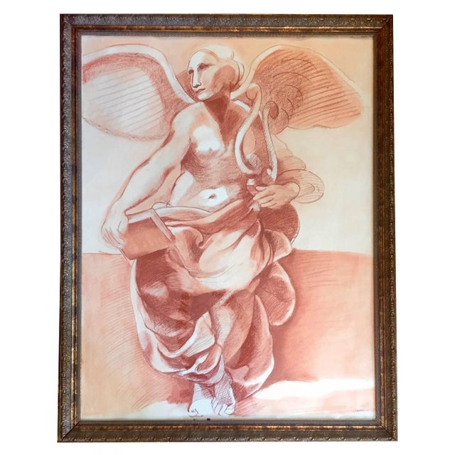 Maroon Impressive Very Large Original Drawing of Sculptural Angel For Sale - Image 8 of 8