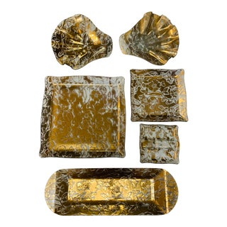 Fleurs D'oro Gold Leaf Glass Trays - Set of 6 For Sale