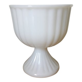 1960s Fluted Mid-Century Milk Glass Footed Bowl For Sale