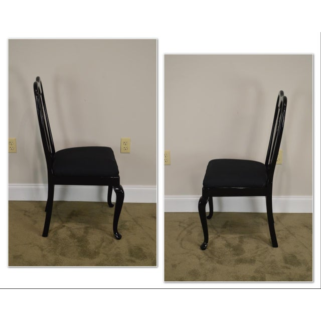 *STORE ITEM #: 18949 Black Lacquer Set of 4 Queen Anne Dining Chairs AGE / ORIGIN: Approx. 30 years, America DETAILS /...