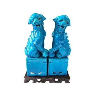 """Turquoise Foo Dogs on Wood Stand 11"""" H For Sale"""