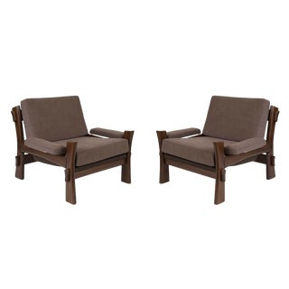 Danish Oak and Grey Upholstered Lounge Chairs - a Pair For Sale