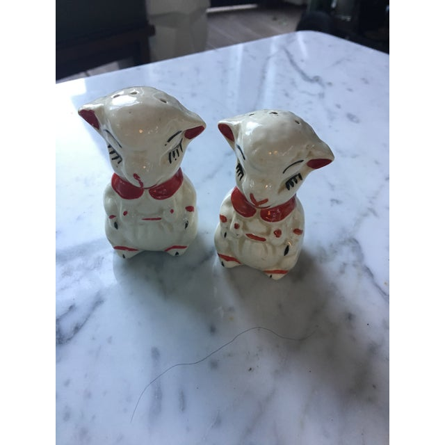 Cottage Vintage Red Collared Lamb Salt & Pepper Shakers For Sale - Image 3 of 6