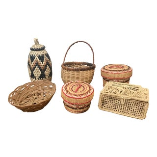 Vintage Boho Rattan Baskets - Set of 6 For Sale