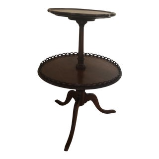 Vintage Two Tier Walnut Dumbwaiter Round Pie Crust Accent Table For Sale