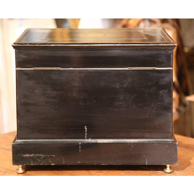 Metal 19th Century French Napoleon III Mahogany Cave à Liqueur With Bronze Inlay For Sale - Image 7 of 7
