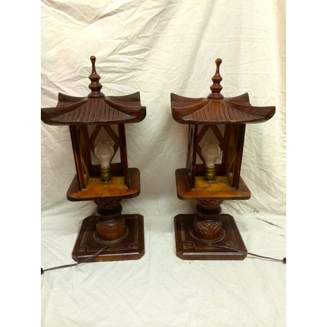 Hand Carved Wood Pagoda Lamps - A Pair For Sale - Image 5 of 5