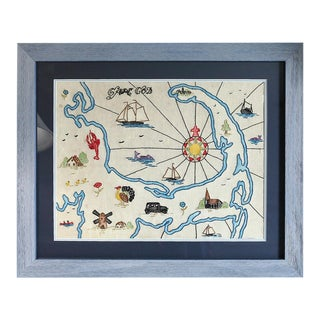 Vintage Embroidered Cape Cod Map