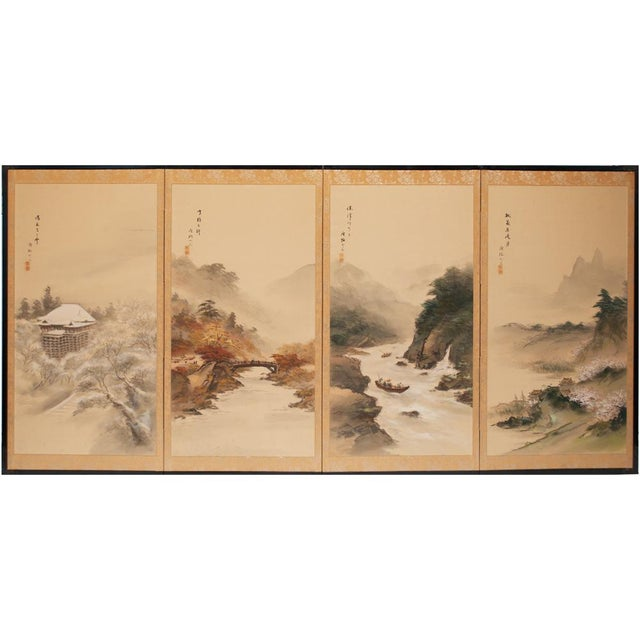 C. 1920-1940s Japanese Four Landscapes Byobu Screen For Sale - Image 13 of 13