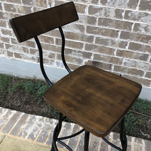New industrial style wood and metal bar stool. Very sturdy and stylish!