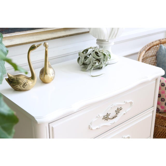 Shabby Chic Vintage White Nightstand - Image 4 of 6