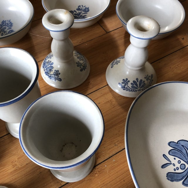 Traditional 1970s Vintage Blue Floral Americana Serving Set - 32 Pieces For Sale - Image 3 of 7