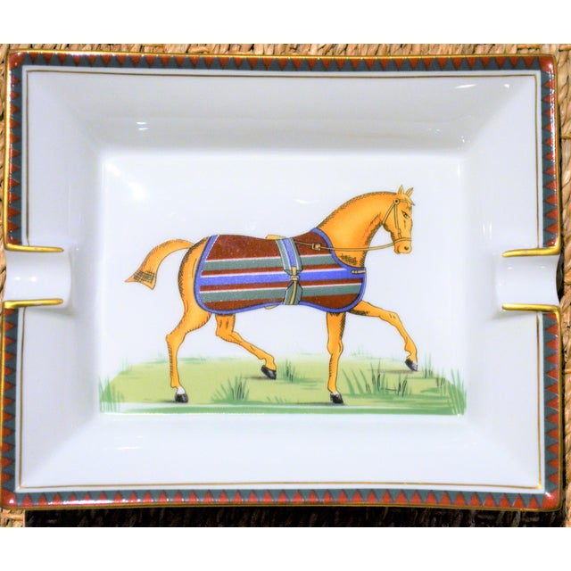 Edwardian 1970s Vintage Hermes Striped Equestrian Cigar Tray For Sale - Image 3 of 10