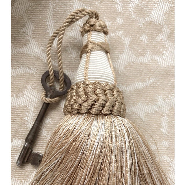 Tan and White Key Tassels With Looped Ruche Trim - a Pair For Sale - Image 9 of 10