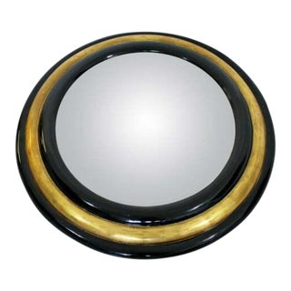 Contemporary Modern Maitland Smith Convex Round Gold Gilt Wood Wall Mirror 80s For Sale