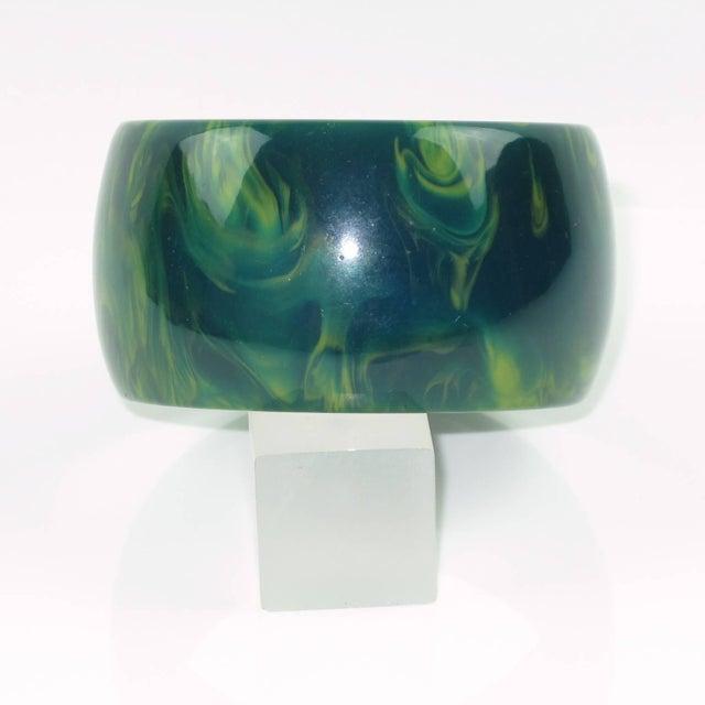 French Bakelite Blue-Moon Marble Oversized Wide Shape Bangle Bracelet For Sale - Image 3 of 5