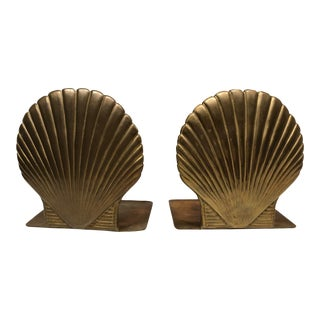 1960s Vintage Brass Shell Bookends - a Pair For Sale
