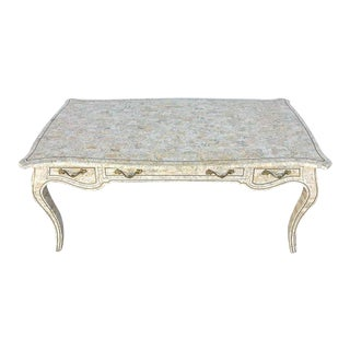 Midcentury Maitland Smith Brass Inlaid Tessellated Stone Desk For Sale