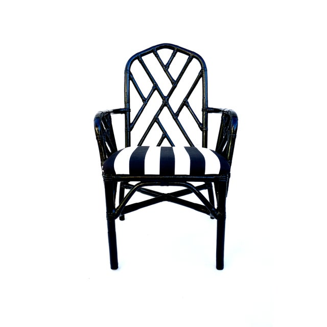 Black Vintage Bamboo Chippendale Arm Chairs - A Pair For Sale - Image 8 of 12