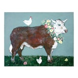 Image of French Flowered Cow With Chickens Painting by Ira Yeager For Sale