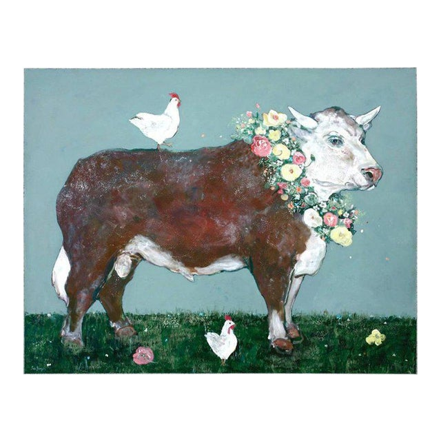 French Flowered Cow With Chickens Painting by Ira Yeager For Sale