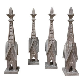 Set of Four 19th Century Carved Wood Gothic Spires For Sale