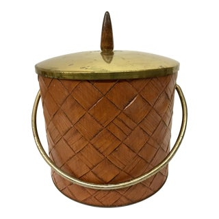 1950s Mid-Century Modern Naugahyde & Brass Ice Bucket For Sale