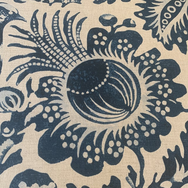 Hollywood Regency Clarence House Delft Handprint Linen Fabric- 6 Yards For Sale - Image 3 of 6